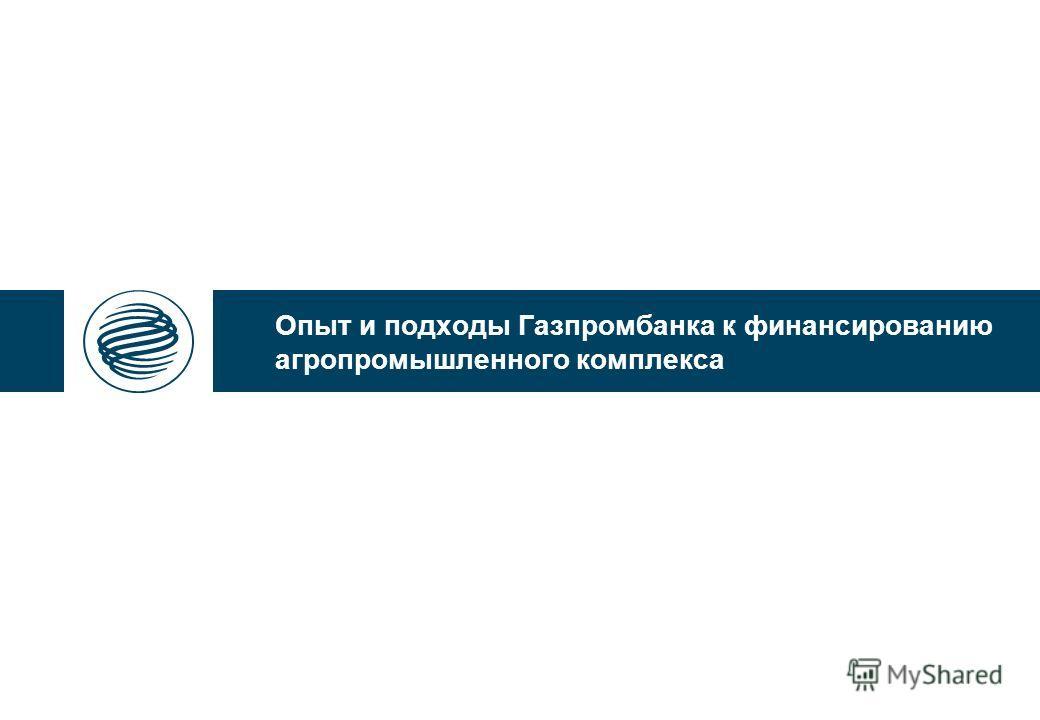 Опыт и подходы Газпромбанка к финансированию агропромышленного комплекса