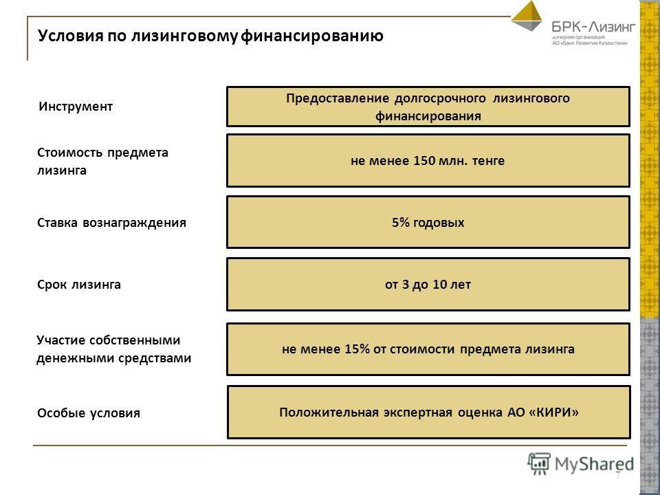 Условия по лизинговому финансированию 7 Инструмент Предоставление долгосрочного лизингового финансирования Участие собственными денежными средствами не менее 15% от стоимости предмета лизинга Особые условия Положительная экспертная оценка АО «КИРИ» С