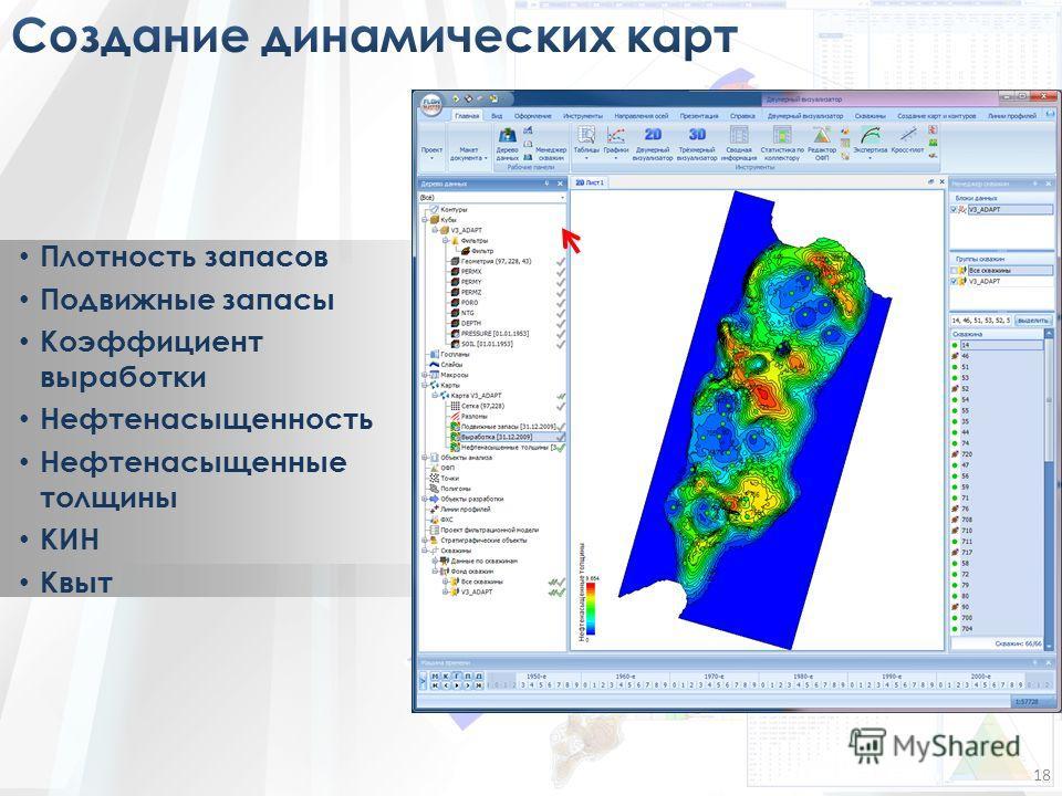 Плотность запасов Подвижные запасы Коэффициент выработки Нефтенасыщенность Нефтенасыщенные толщины КИН Квыт 18