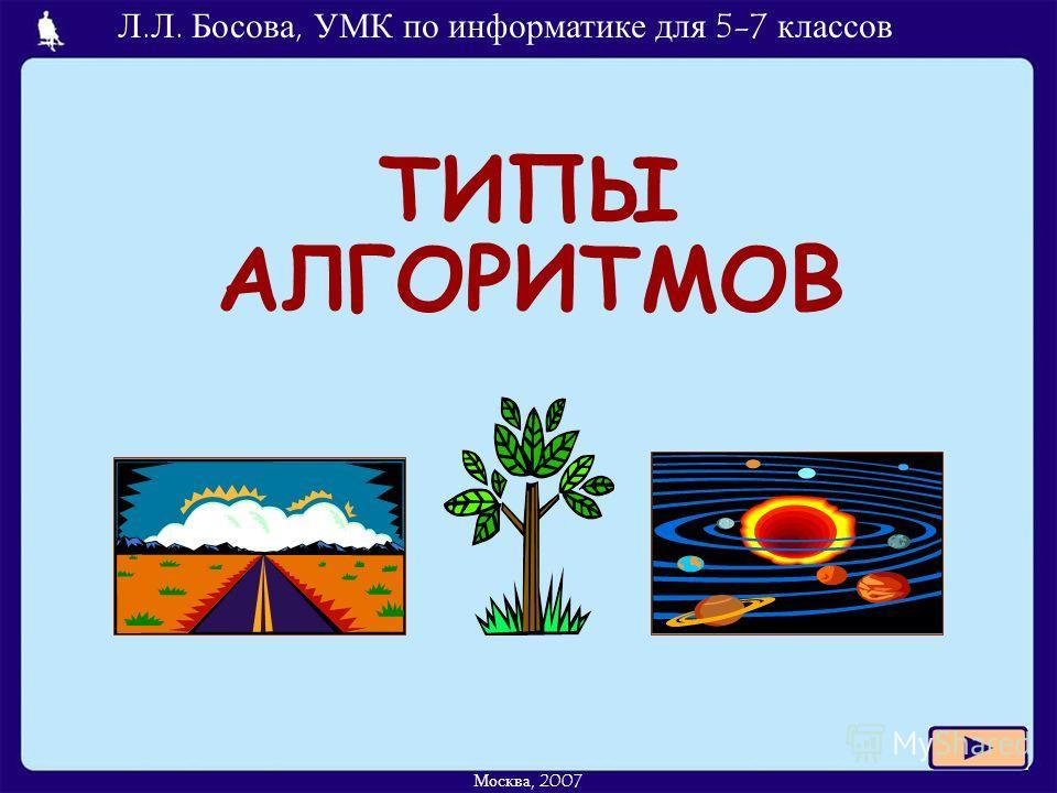 Л.Л. Босова, УМК по информатике для 5-7 классов Москва, 2007 ТИПЫ АЛГОРИТМОВ