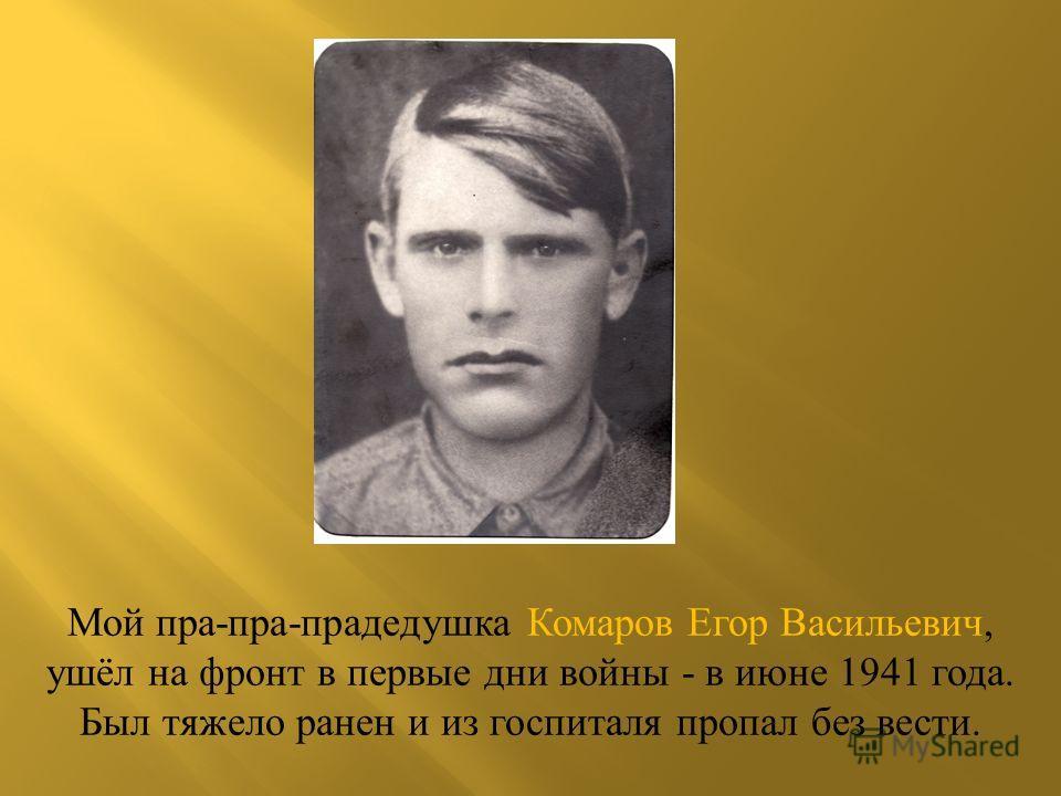 Мой пра-пра-прадедушка Комаров Егор Васильевич, ушёл на фронт в первые дни войны - в июне 1941 года. Был тяжело ранен и из госпиталя пропал без вести.
