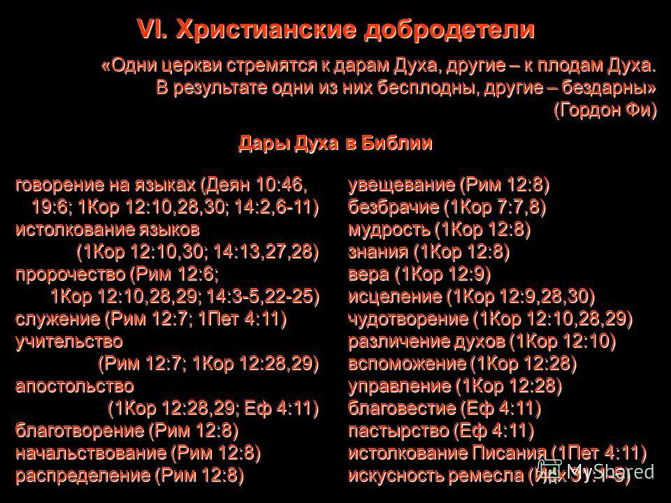 VI. Христианские добродетели «Одни церкви стремятся к дарам Духа, другие – к плодам Духа. В результате одни из них бесплодны, другие – бездарны» (Гордон Фи) Дары Духа в Библии говорение на языках (Деян 10:46, 19:6; 1Кор 12:10,28,30; 14:2,6-11) истолк
