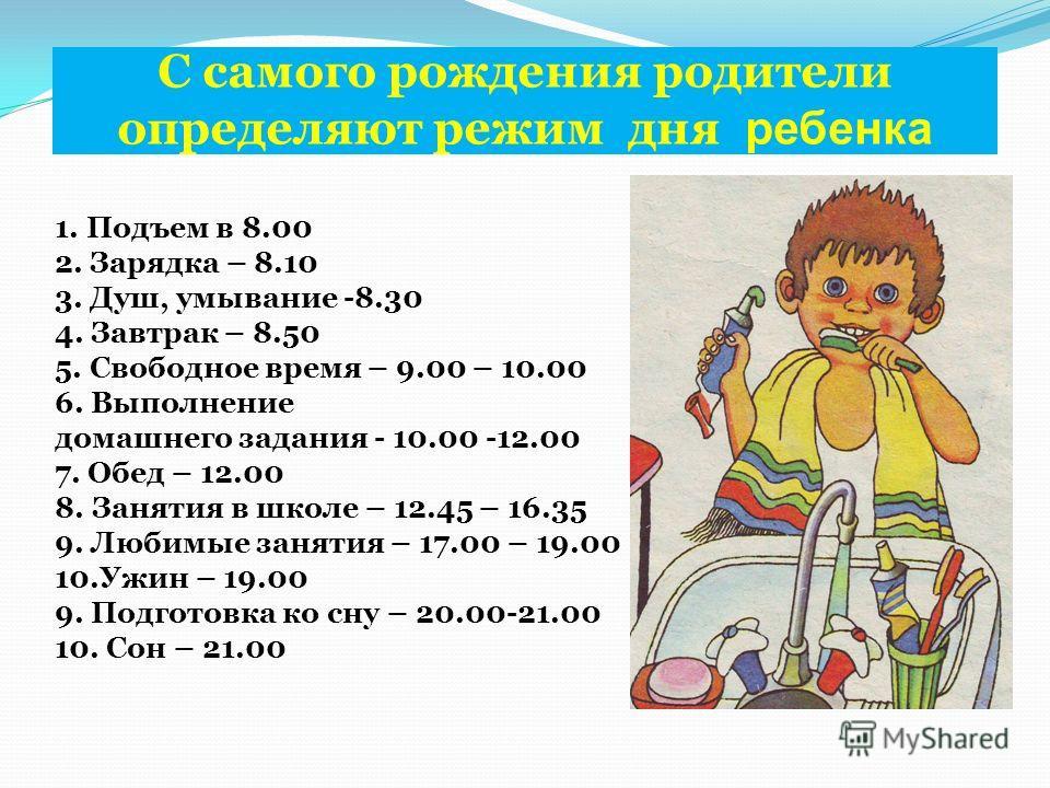 С самого рождения родители определяют режим дня ребенка 1. Подъем в 8.00 2. Зарядка – 8.10 3. Душ, умывание -8.30 4. Завтрак – 8.50 5. Свободное время – 9.00 – 10.00 6. Выполнение домашнего задания - 10.00 -12.00 7. Обед – 12.00 8. Занятия в школе –