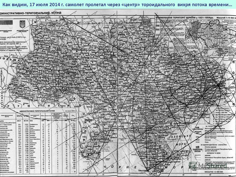 Как видим, 17 июля 2014 г. самолет пролетал через «центр» тороидального вихря потока времени…