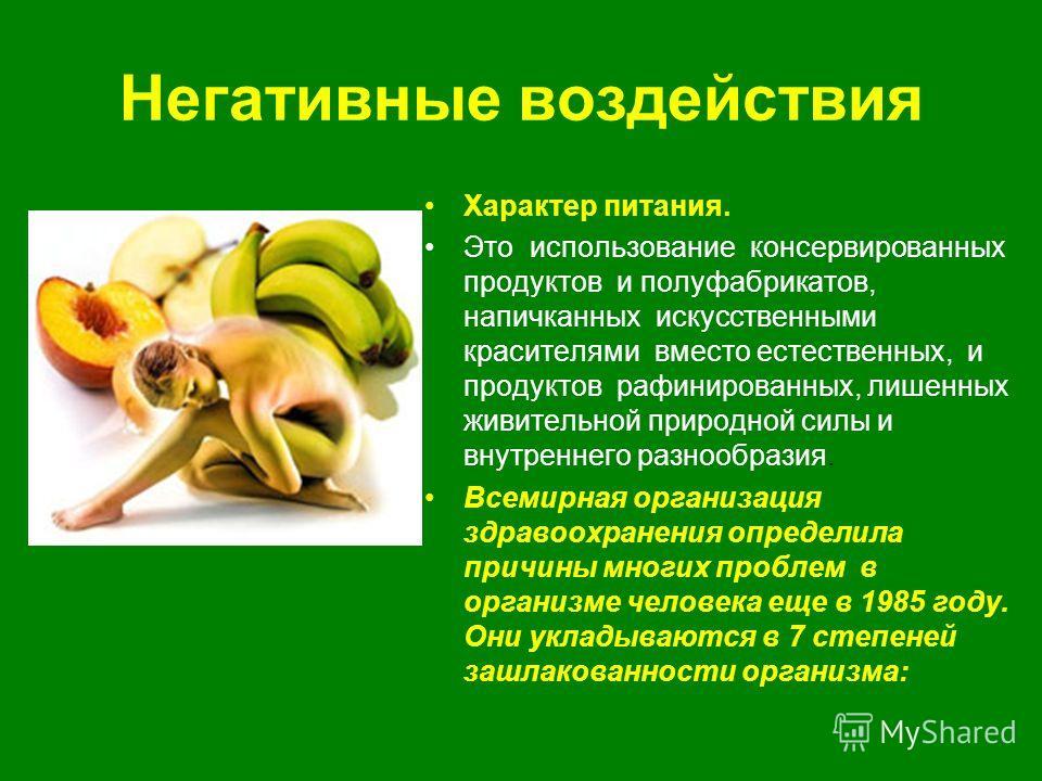 Негативные воздействия Характер питания. Это использование консервированных продуктов и полуфабрикатов, напичканных искусственными красителями вместо естественных, и продуктов рафинированных, лишенных живительной природной силы и внутреннего разнообр