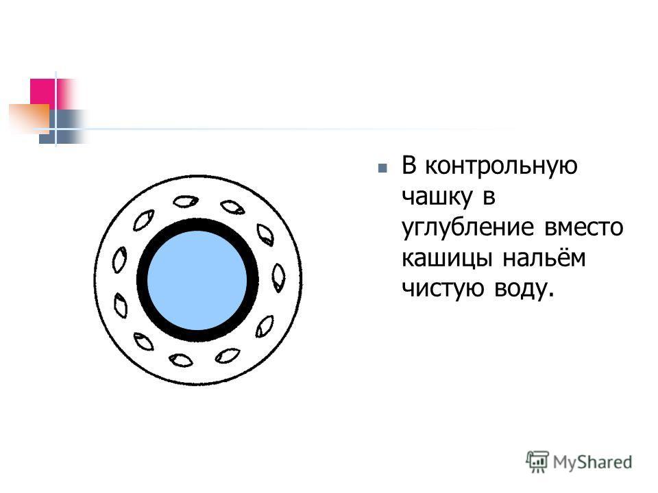 В контрольную чашку в углубление вместо кашицы нальём чистую воду.
