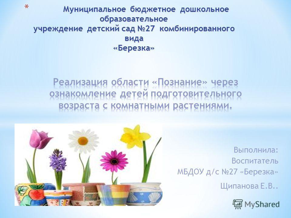 Выполнила: Воспитатель МБДОУ д/с 27 «Березка» Щипанова Е.В..