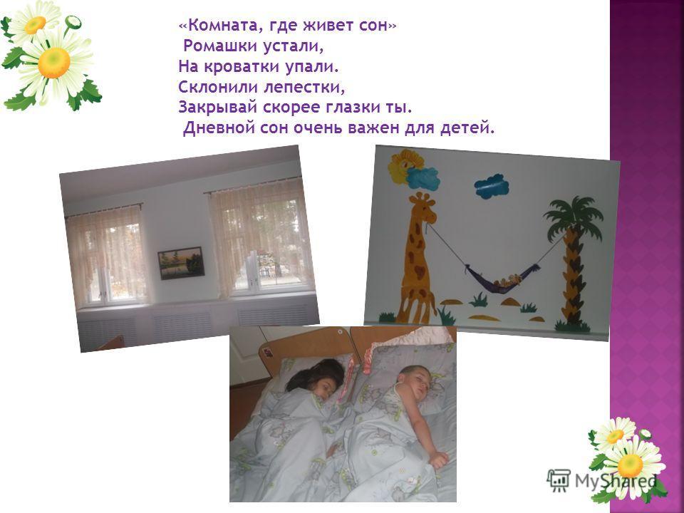 «Комната, где живет сон» Ромашки устали, На кроватки упали. Склонили лепестки, Закрывай скорее глазки ты. Дневной сон очень важен для детей.