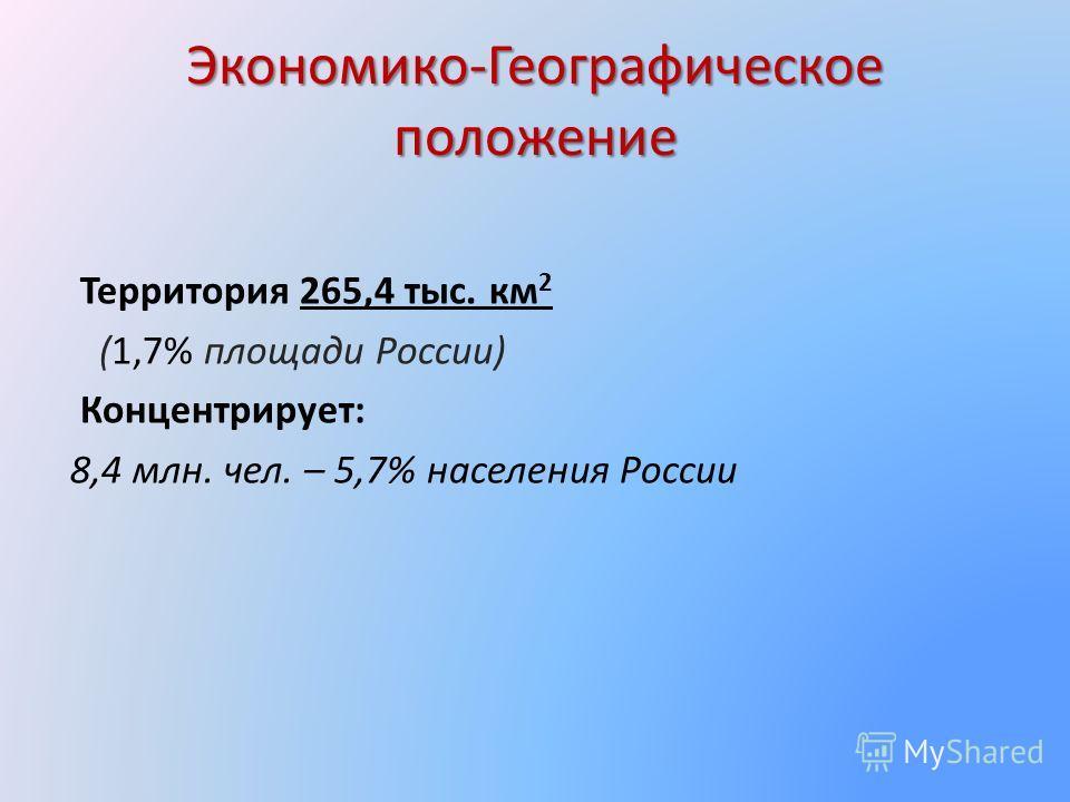 Экономико-Географическое положение Территория 265,4 тыс. км 2 (1,7% площади России) Концентрирует: 8,4 млн. чел. – 5,7% населения России
