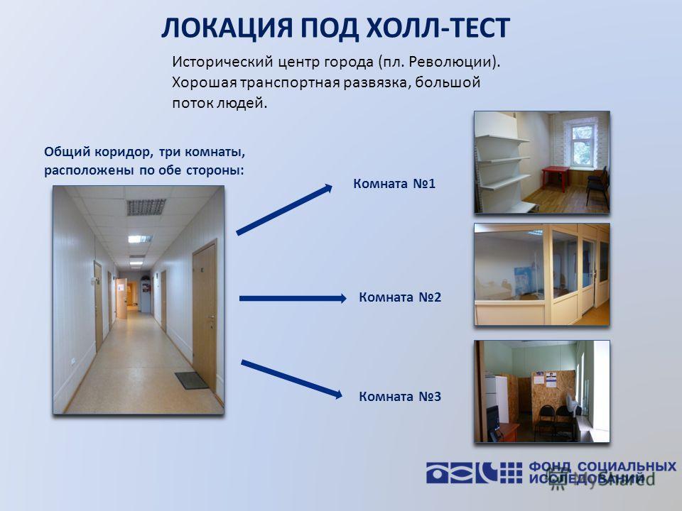 ЛОКАЦИЯ ПОД ХОЛЛ-ТЕСТ Исторический центр города (пл. Революции). Хорошая транспортная развязка, большой поток людей. Комната 1 Общий коридор, три комнаты, расположены по обе стороны: Комната 2 Комната 3