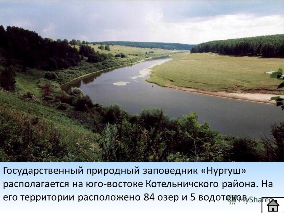 Государственный природный заповедник «Нургуш» располагается на юго-востоке Котельничского района. На его территории расположено 84 озер и 5 водотоков.