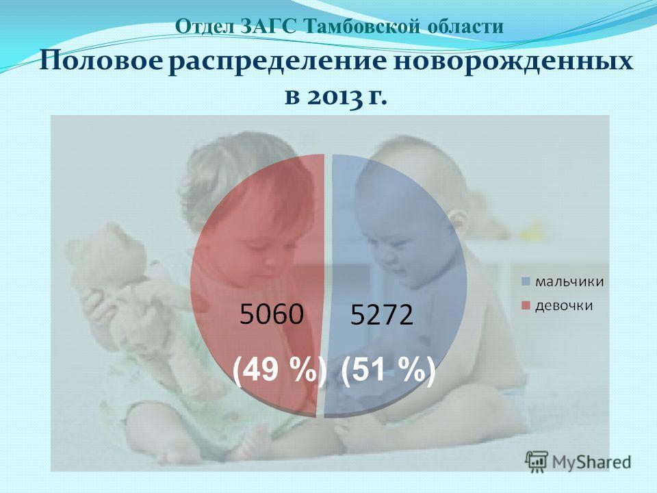 Половое распределение новорожденных в 2013 г. Отдел ЗАГС Тамбовской области (49 %)(51 %)