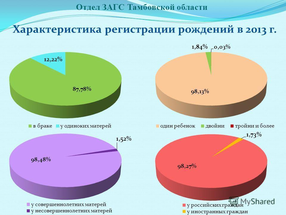 Характеристика регистрации рождений в 2013 г.