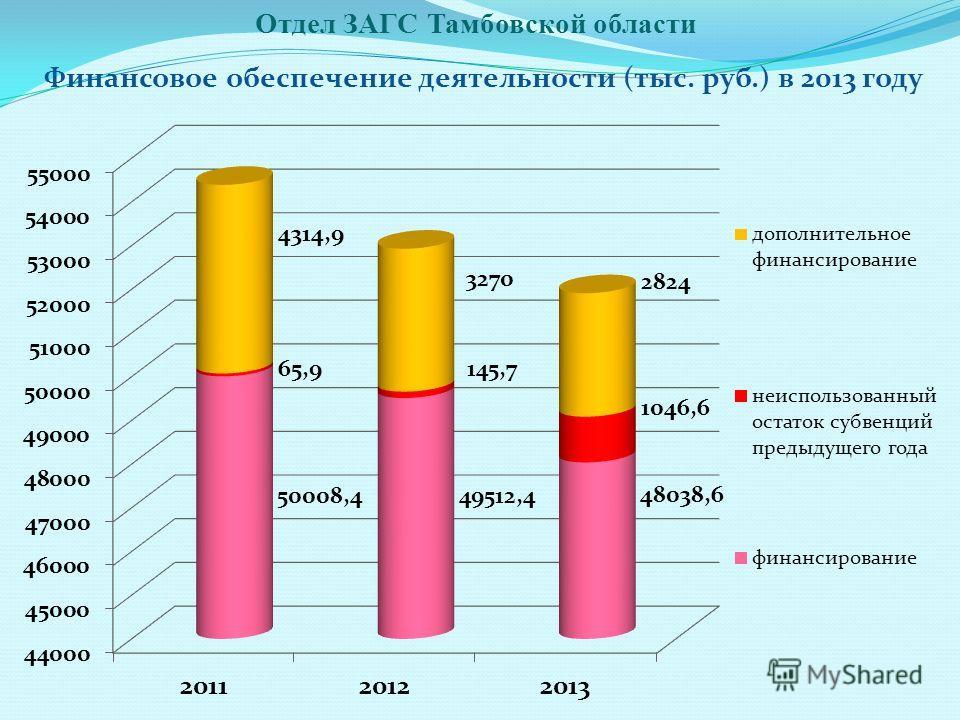 Финансовое обеспечение деятельности (тыс. руб.) в 2013 году