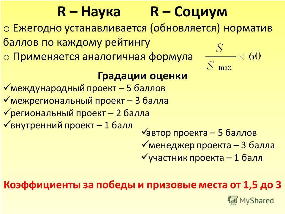 R – Наука R – Социум o Ежегодно устанавливается (обновляется) норматив баллов по каждому рейтингу o Применяется аналогичная формула Градации оценки международный проект – 5 баллов межрегиональный проект – 3 балла региональный проект – 2 балла внутрен