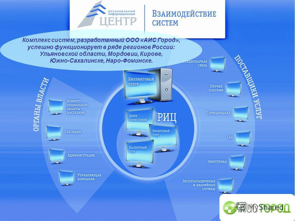Комплекс систем, разработанный ООО «АИС Город», успешно функционирует в ряде регионов России: Ульяновской области, Мордовии, Кирове, Южно-Сахалинске, Наро-Фоминске.