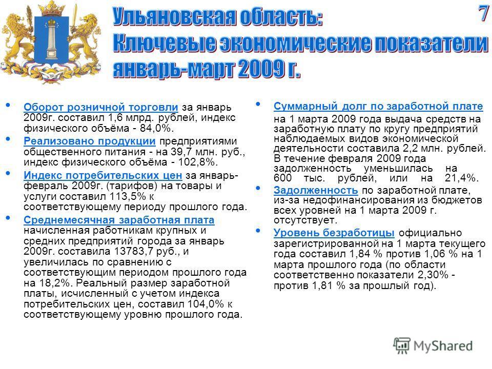 Оборот розничной торговли за январь 2009 г. составил 1,6 млрд. рублей, индекс физического объёма - 84,0%. Реализовано продукции предприятиями общественного питания - на 39,7 млн. руб., индекс физического объёма - 102,8%. Индекс потребительских цен за
