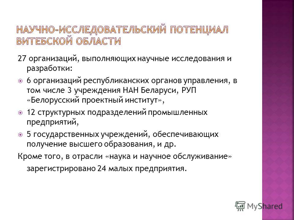 27 организаций, выполняющих научные исследования и разработки: 6 организаций республиканских органов управления, в том числе 3 учреждения НАН Беларуси, РУП «Белорусский проектный институт», 12 структурных подразделений промышленных предприятий, 5 гос