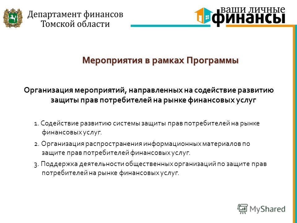 Мероприятия в рамках Программы Организация мероприятий, направленных на содействие развитию защиты прав потребителей на рынке финансовых услуг 1. Содействие развитию системы защиты прав потребителей на рынке финансовых услуг. 2. Организация распростр