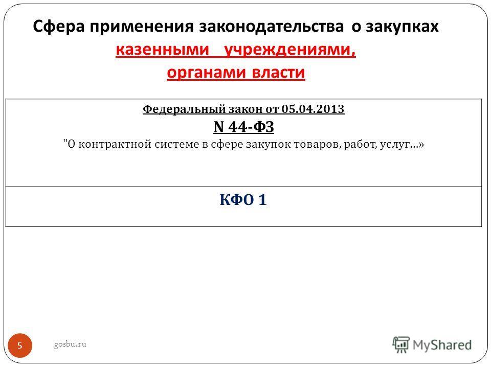 Сфера применения законодательства о закупках казенными учреждениями, органами власти Федеральный закон от 05.04.2013 N 44- ФЗ  О контрактной системе в сфере закупок товаров, работ, услуг …» КФО 1 gosbu.ru 5