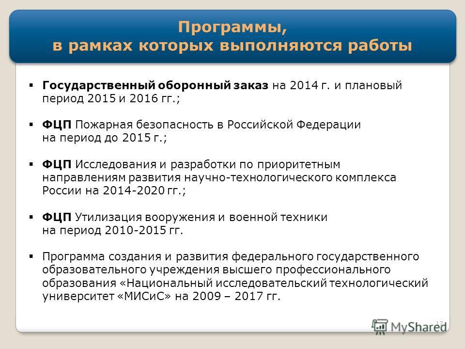 Программы, в рамках которых выполняются работы Государственный оборонный заказ на 2014 г. и плановый период 2015 и 2016 гг.; ФЦП Пожарная безопасность в Российской Федерации на период до 2015 г.; ФЦП Исследования и разработки по приоритетным направле
