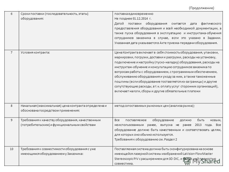 6 Сроки поставки (последовательность, этапы) оборудования: поставка единовременно Не позднее 01.12.2014 г. Датой поставки оборудования считается дата фактического предоставления оборудования и всей необходимой документации, а также пуска оборудования