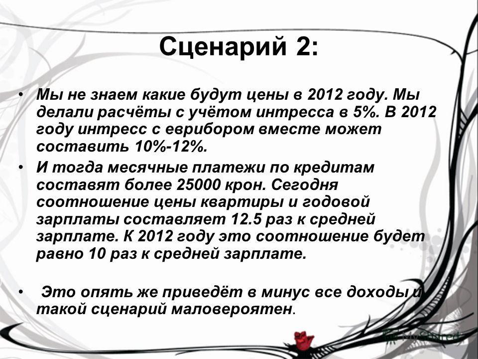 Сценарий 2: Мы не знаем какие будут цены в 2012 году. Мы делали расчёты с учётом интресса в 5%. В 2012 году интресс с еврибором вместе может составить 10%-12%. И тогда месячные платежи по кредитам составят более 25000 крон. Сегодня соотношение цены к
