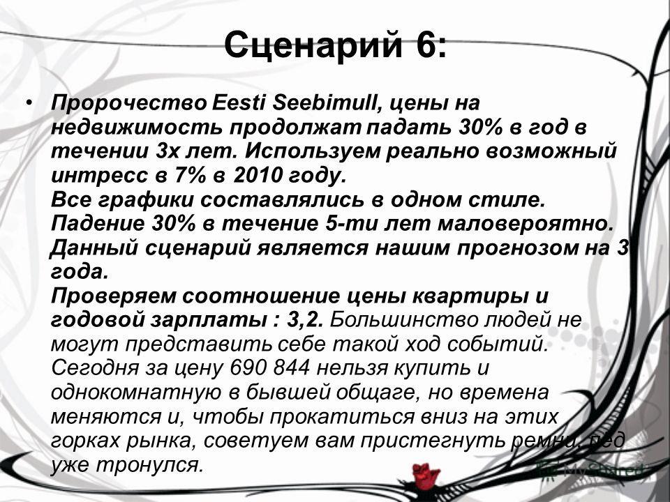 Сценарий 6: Пророчество Eesti Seebimull, цены на недвижимость продолжат падать 30% в год в течении 3 х лет. Используем реально возможный интресс в 7% в 2010 году. Все графики составлялись в одном стиле. Падение 30% в течениe 5-ти лет маловероятно. Да