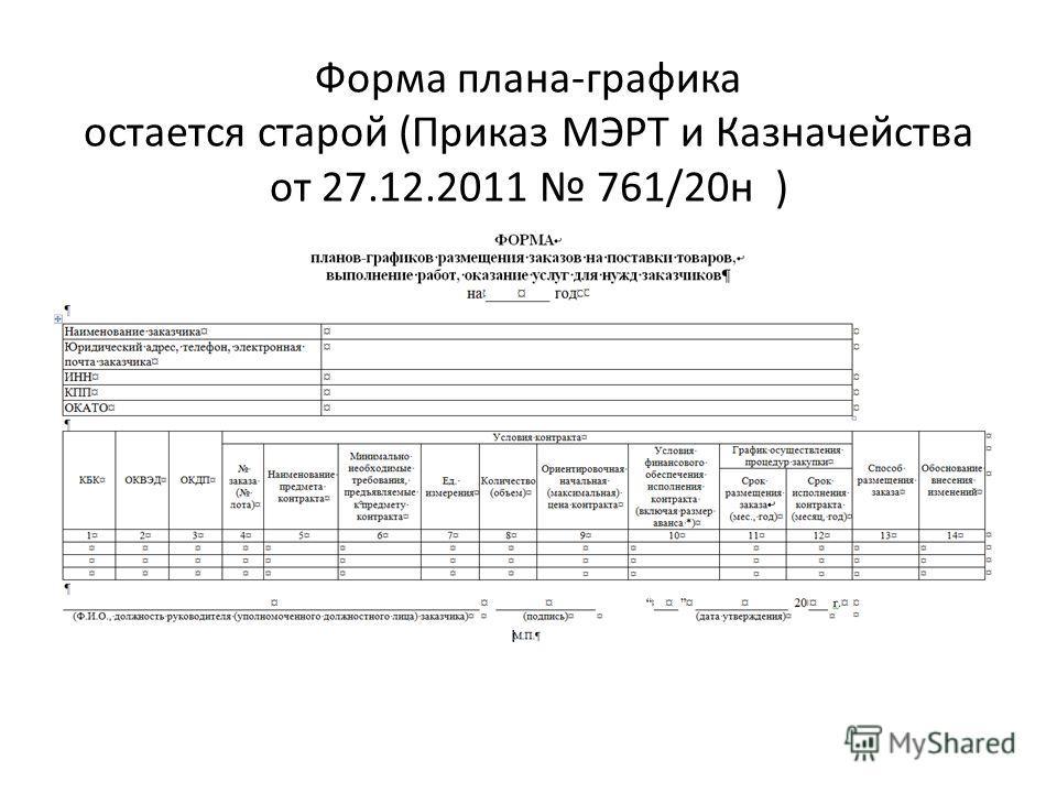 Форма плана-графика остается старой (Приказ МЭРТ и Казначейства от 27.12.2011 761/20 н )