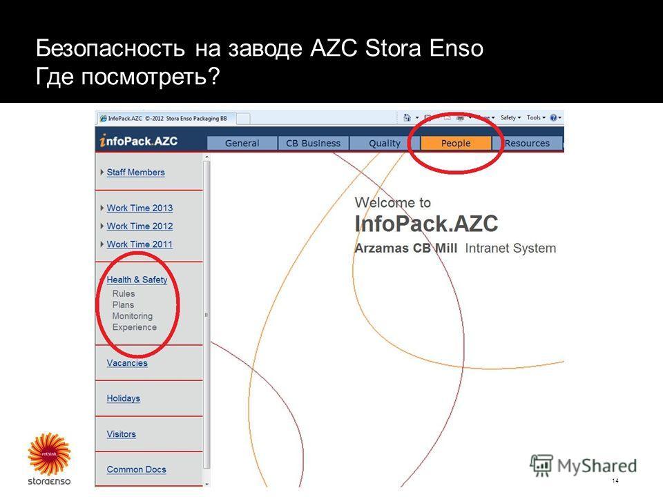 November 17, 2014 Presenter name14 Безопасность на заводе AZC Stora Enso Где посмотреть?