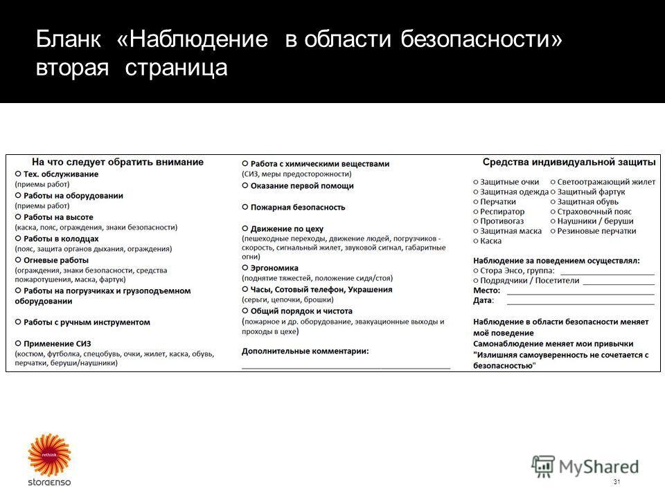 Бланк «Наблюдение в области безопасности» вторая страница 31