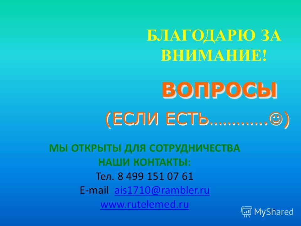 17 БЛАГОДАРЮ ЗА ВНИМАНИЕ! ВОПРОСЫВОПРОСЫ (ЕСЛИ ЕСТЬ…………. ) МЫ ОТКРЫТЫ ДЛЯ СОТРУДНИЧЕСТВА НАШИ КОНТАКТЫ: Тел. 8 499 151 07 61 E-mail ais1710@rambler.ruais1710@rambler.ru www.rutelemed.ru