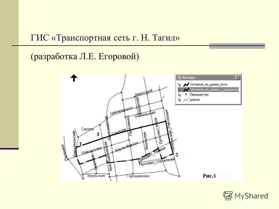 ГИС «Транспортная сеть г. Н. Тагил» (разработка Л.Е. Егоровой)