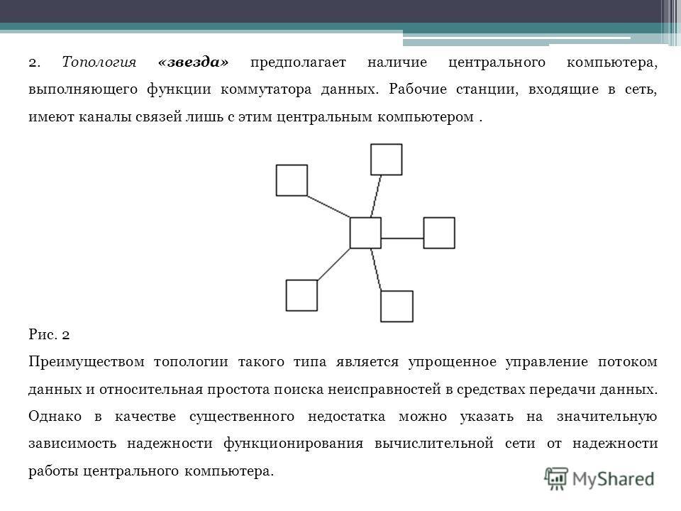 2. Топология «звезда» предполагает наличие центрального компьютера, выполняющего функции коммутатора данных. Рабочие станции, входящие в сеть, имеют каналы связей лишь с этим центральным компьютером. Рис. 2 Преимуществом топологии такого типа являетс