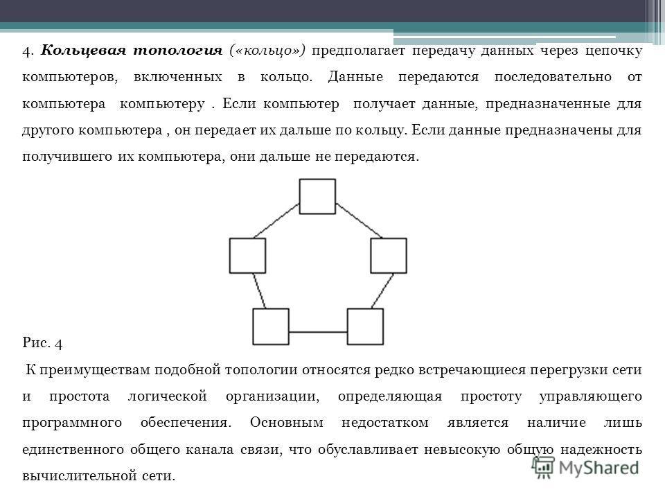 4. Кольцевая топология («кольцо») предполагает передачу данных через цепочку компьютеров, включенных в кольцо. Данные передаются последовательно от компьютера компьютеру. Если компьютер получает данные, предназначенные для другого компьютера, он пере