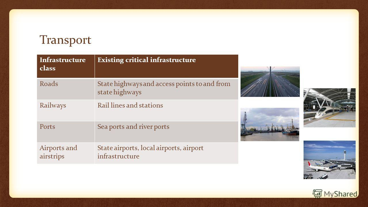 Transport Infrastructure class Existing critical infrastructure RoadsState highways and access points to and from state highways RailwaysRail lines and stations PortsSea ports and river ports Airports and airstrips State airports, local airports, air