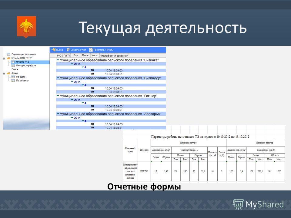 Текущая деятельность Отчетные формы