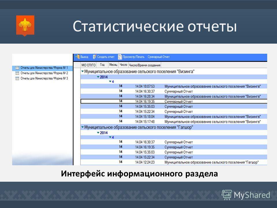 Статистические отчеты Интерфейс информационного раздела