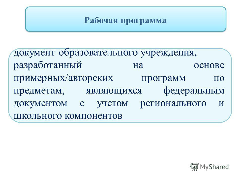 Рабочая программа документ образовательного учреждения, разработанный на основе примерных/авторских программ по предметам, являющихся федеральным документом с учетом регионального и школьного компонентов