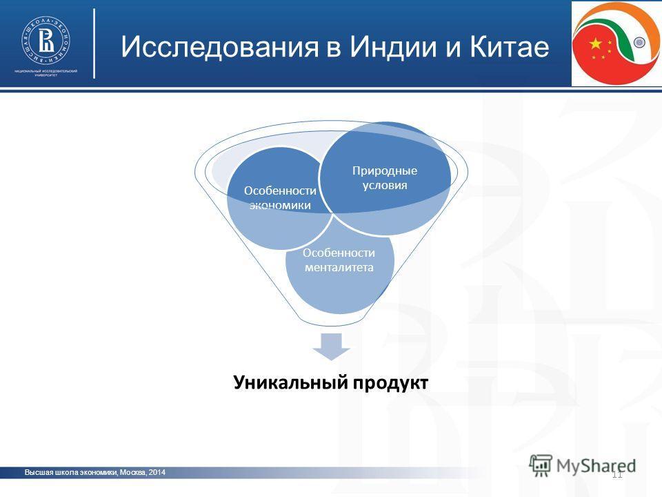 Высшая школа экономики, Москва, 2014 Исследования в Индии и Китае 11 Уникальный продукт Особенности менталитета Особенности экономики Природные условия