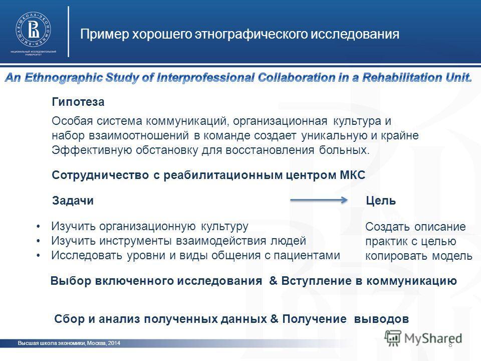 Высшая школа экономики, Москва, 2014 Пример хорошего этнографического исследования фото 8 Особая система коммуникаций, организационная культура и набор взаимоотношений в команде создает уникальную и крайне Эффективную обстановку для восстановления бо