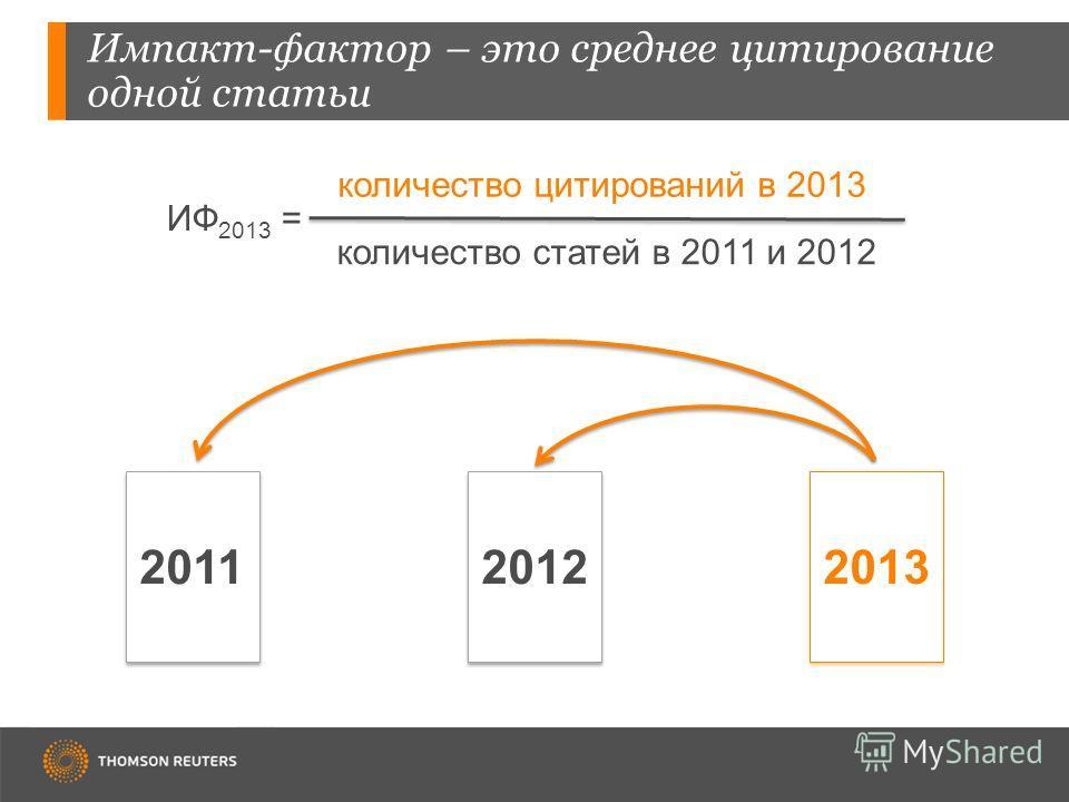 Импакт-фактор – это среднее цитирование одной статьи 201120122013 ИФ 2013 = количество цитирований в 2013 количество статей в 2011 и 2012