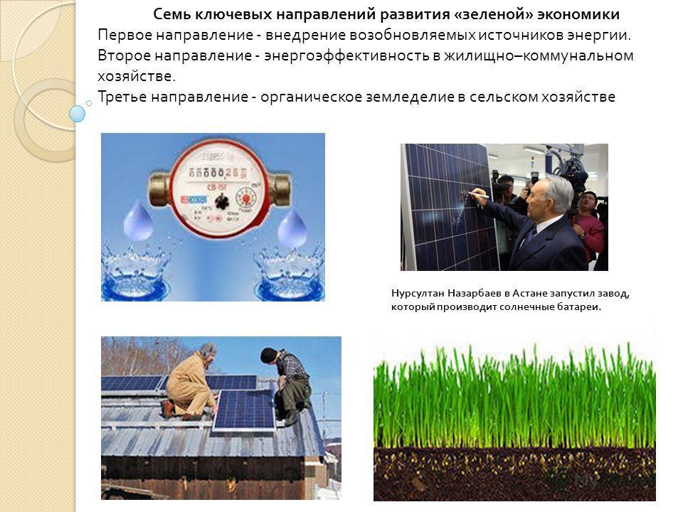 Семь ключевых направлений развития « зеленой » экономики Первое направление - внедрение возобновляемых источников энергии. Второе направление - энергоэффективность в жилищно – коммунальном хозяйстве. Третье направление - органическое земледелие в сел