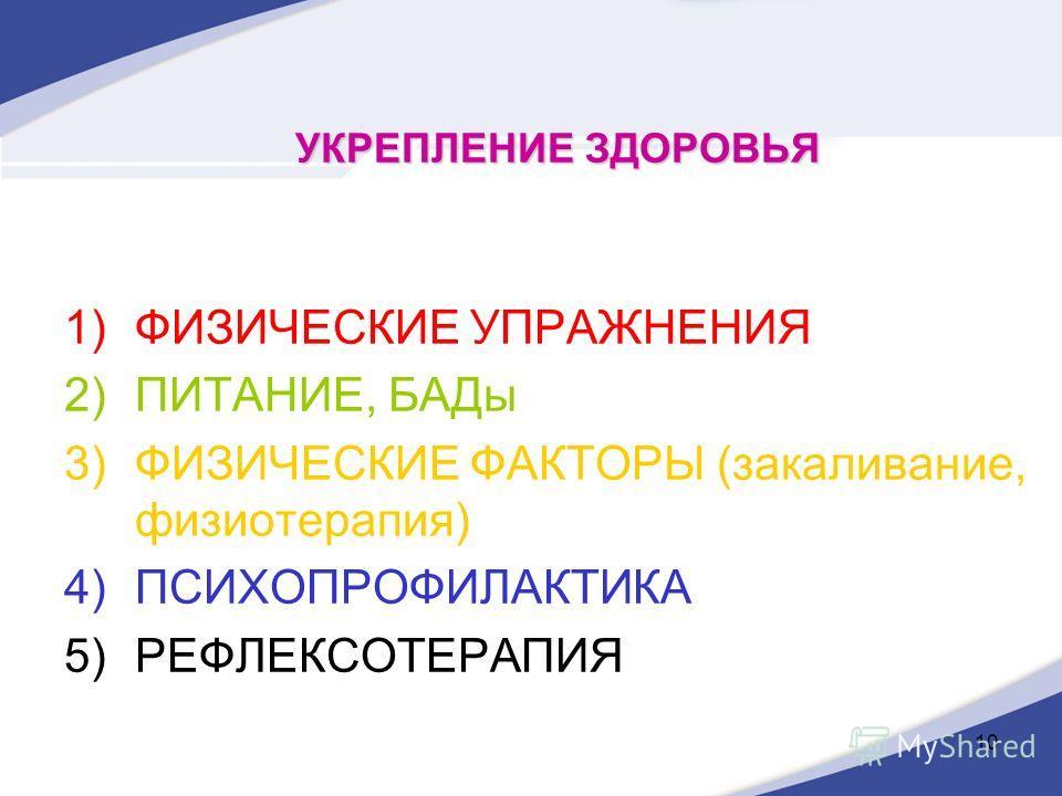 10 УКРЕПЛЕНИЕ ЗДОРОВЬЯ 1)ФИЗИЧЕСКИЕ УПРАЖНЕНИЯ 2)ПИТАНИЕ, БАДы 3)ФИЗИЧЕСКИЕ ФАКТОРЫ (закаливание, физиотерапия) 4)ПСИХОПРОФИЛАКТИКА 5)РЕФЛЕКСОТЕРАПИЯ