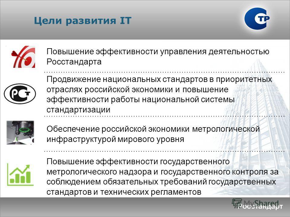Цели развития IT Повышение эффективности управления деятельностью Росстандарта Продвижение национальных стандартов в приоритетных отраслях российской экономики и повышение эффективности работы национальной системы стандартизации Обеспечение российско