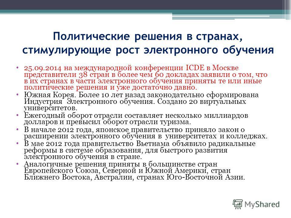 Политические решения в странах, стимулирующие рост электронного обучения 25.09.2014 на международной конференции ICDE в Москве представители 38 стран в более чем 60 докладах заявили о том, что в их странах в части электронного обучения приняты те или