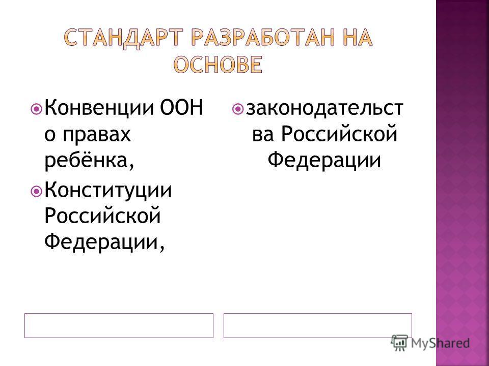 Конвенции ООН о правах ребёнка, Конституции Российской Федерации, законодательст ва Российской Федерации