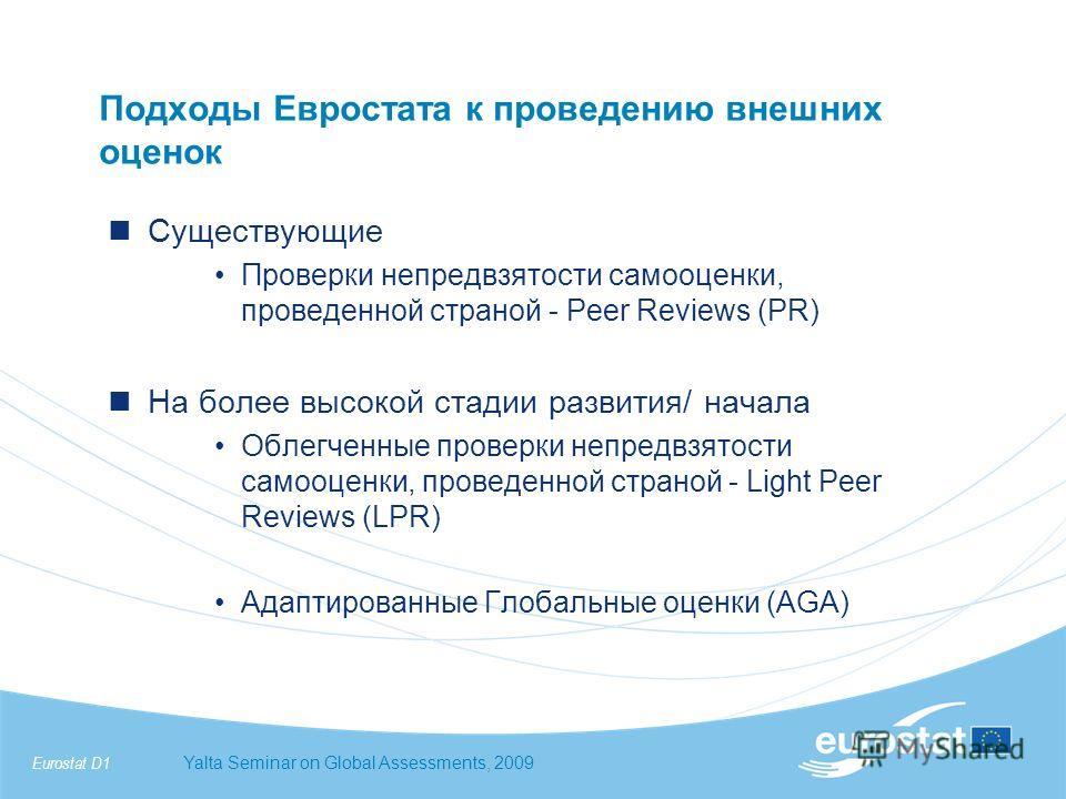 Eurostat D1Yalta Seminar on Global Assessments, 2009 Подходы Евростата к проведению внешних оценок Существующие Проверки непредвзятости самооценки, проведенной страной - Peer Reviews (PR) На более высокой стадии развития/ начала Облегченные проверки