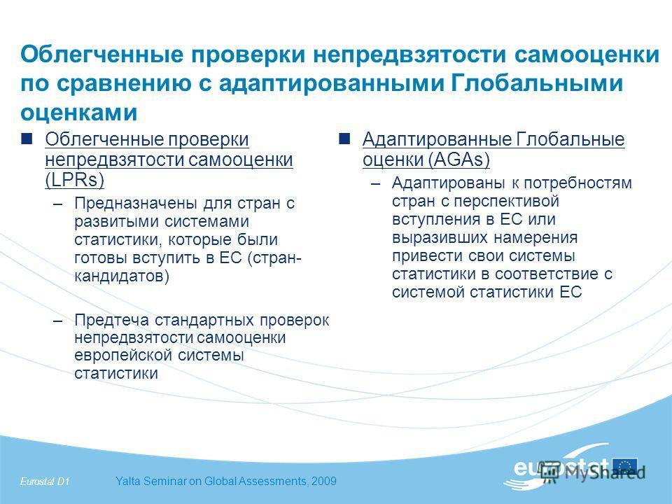 Eurostat D1Yalta Seminar on Global Assessments, 2009 Облегченные проверки непредвзятости самооценки по сравнению с адаптированными Глобальными оценками Облегченные проверки непредвзятости самооценки (LPRs) –Предназначены для стран с развитыми система