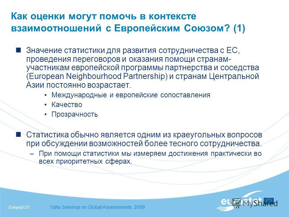 Eurostat D1Yalta Seminar on Global Assessments, 2009 Как оценки могут помочь в контексте взаимоотношений с Европейским Союзом? (1) Значение статистики для развития сотрудничества с ЕС, проведения переговоров и оказания помощи странам- участникам евро